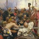 'De Zaporozje-Kozakken schrijven de Turkse sultan een brief' door Ilja Repin